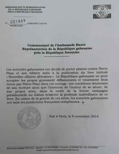 Copie du communiqué de l'ambassade du Gabon en France