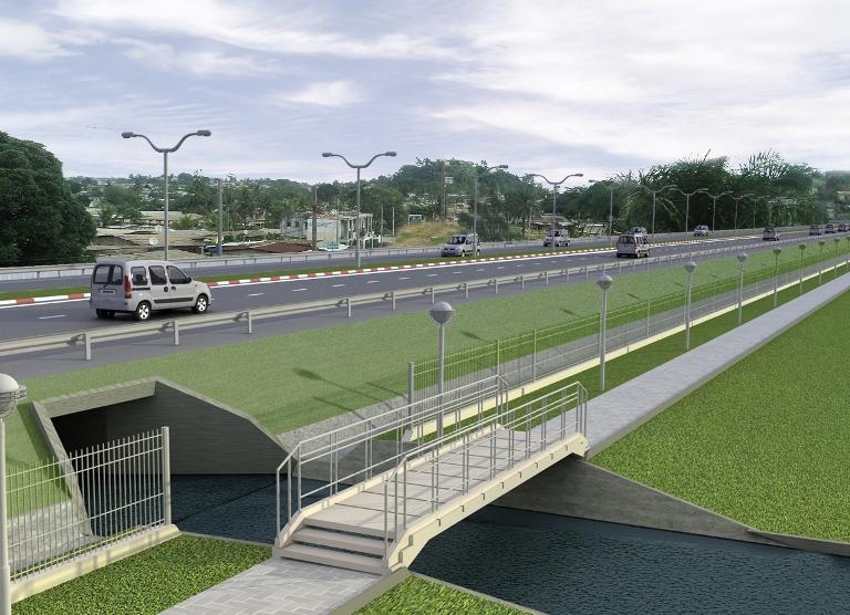 Une vue de l'aménagement des cours d'eau sur le tronçon @ ANGT