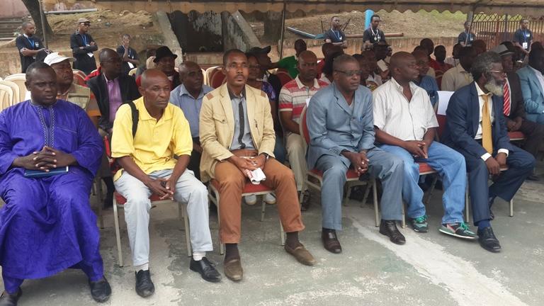 Les leaders syndicats presents à la declaration de Dieudonné Minlama le 20 juin 2015 au collège N'Tchoréré de Libreville@Gabonactu.com