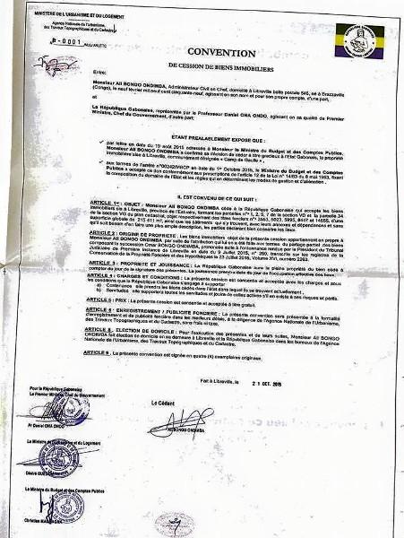 Ali Bongo cède officiellement le palais Oyo à l'Etat gabonais