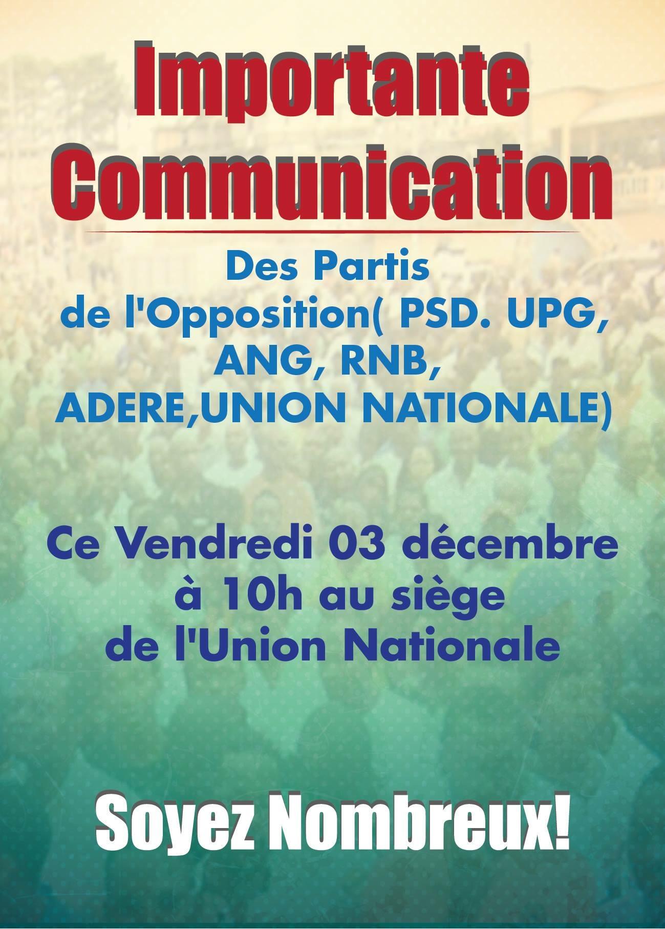Déclaration commune de l'opposition ce vendredi à Libreville