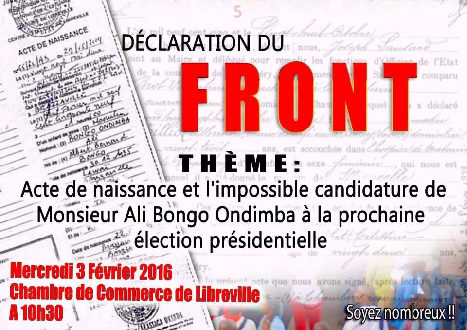 Le FUOPA de Kombila pondra mercredi une déclaration anti candidature d'Ali Bongo Ondimba
