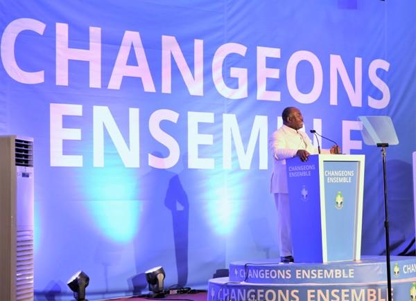 Ali Bongo Ondimba prononçant son discours de candidat @ DCP