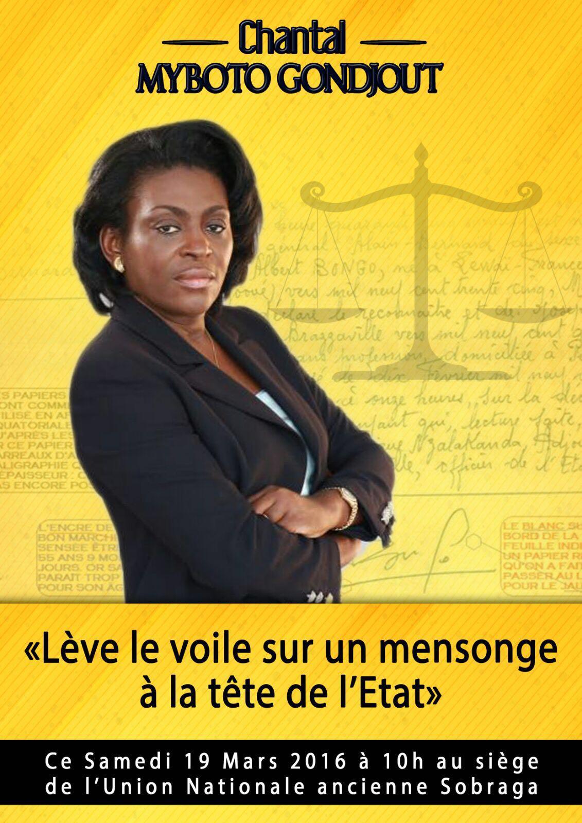 Chantal Myboto parle des secrets d'Etat samedi