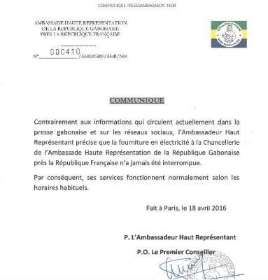 Le communiqué officiel de l'ambassade @ DR