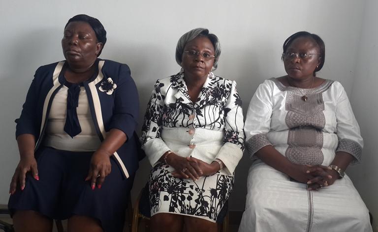 Quelques militantes du PSD dont la vice-présidente, Albertine Maganga Moussavou (centre) ont assisté à la conférence de presse de leur candidat @ Gabonactu.com