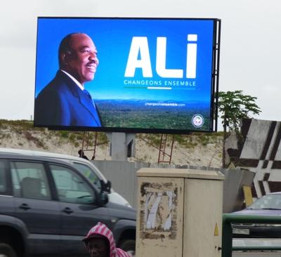 Un panneau limuneux pour Ali Bongo sur le front de mer @ Gabonactu.com