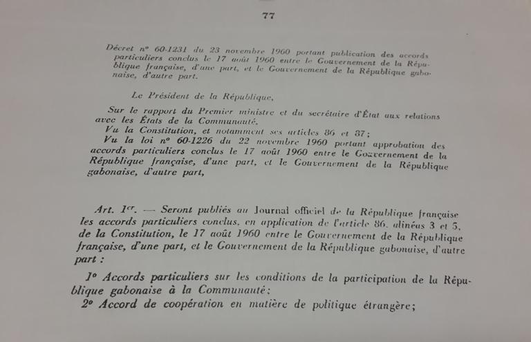 Un extrait des accords signés en août 1960 entre le Gabon et la France @ Gabonactu.com