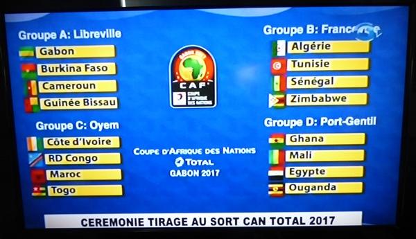Résultat du tirage au sort de la CAN Total Gabon 2017