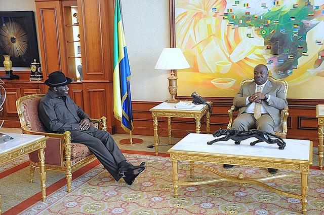 Goodluck  Jonathan  en visite de courtoisie au palais d'Ali Bongo