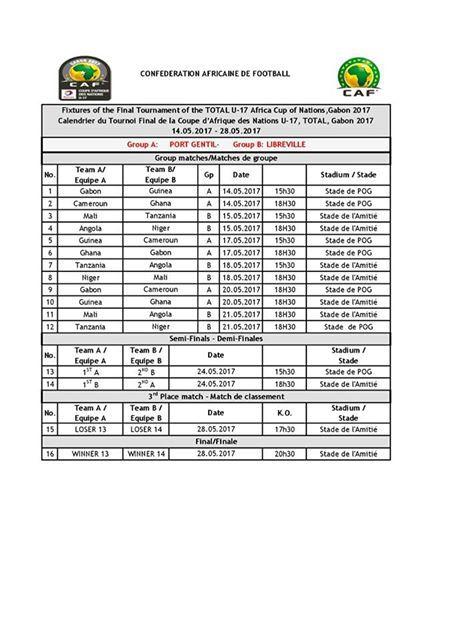 Can total u17 au gabon le calendrier complet des matchs - Calendrier coupe du monde u17 ...