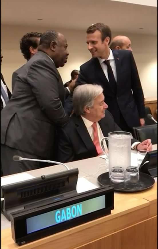 Première poignée de main entre Macron et Ali Bongo à New York