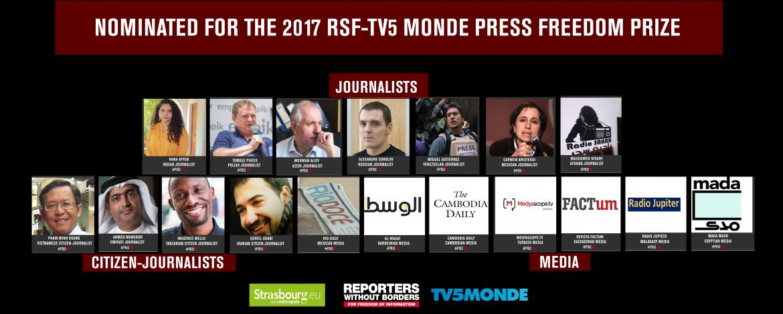 Dix-huit journalistes et médias nominés pour le Prix RSF 2017