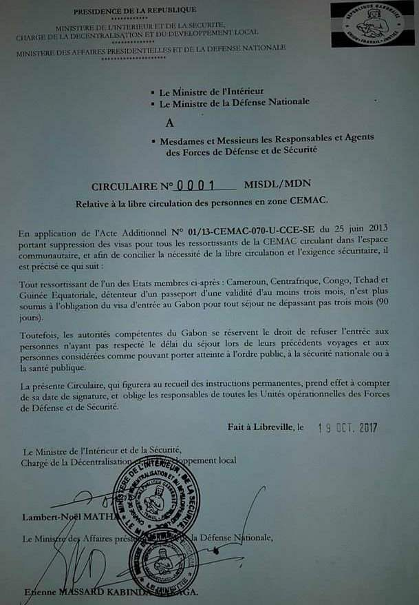 Libre circulation dans la zone CEMAC : Le Gabon rend effective la mesure sous condition d'un passeport