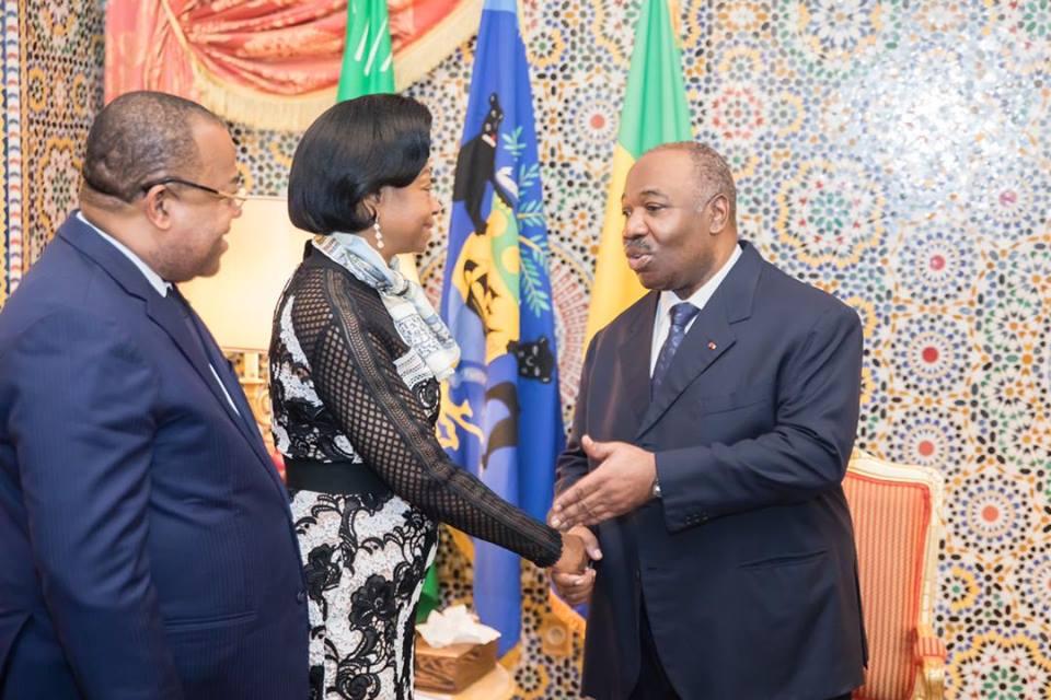 Ali Bongo dans son palais à Libreville a reçu les présidents des institutions gabonaises